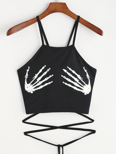 Skeleton Hand Print Lace Up Cami Top