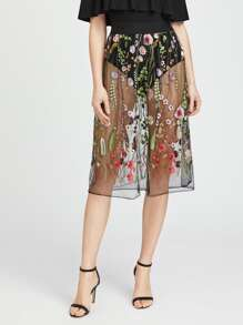 Embroidered Sheer Mesh Skirt