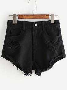 Shorts rotos en denim - negro