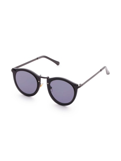 Black Frame Round Lens Sunglasses