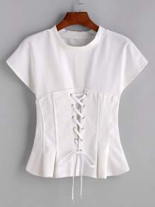Lace Up Front Knitted T-shirt