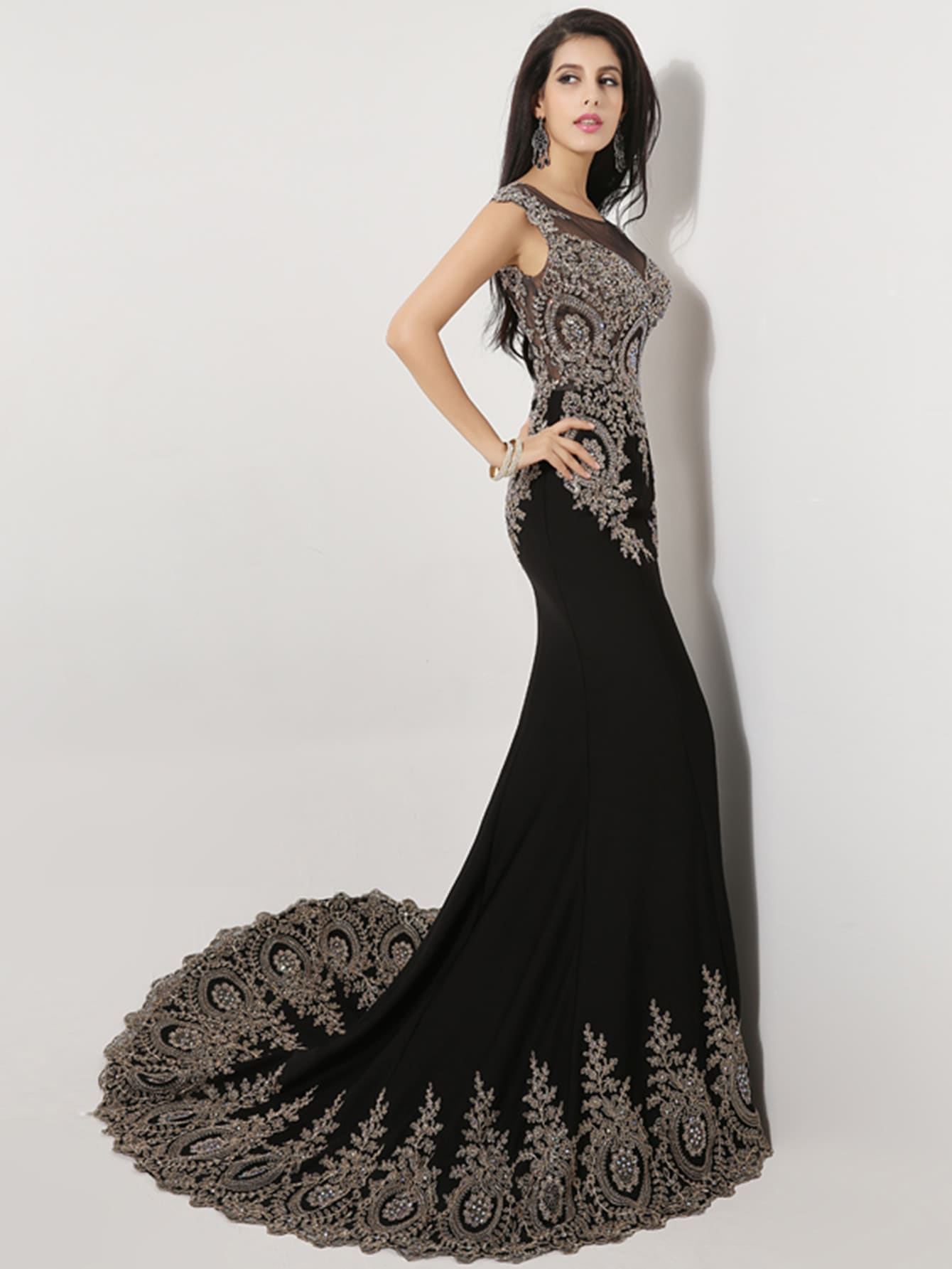 Фото Black Rhinestone Embellished Bridesmaid Dress With Fishtail. Купить с доставкой