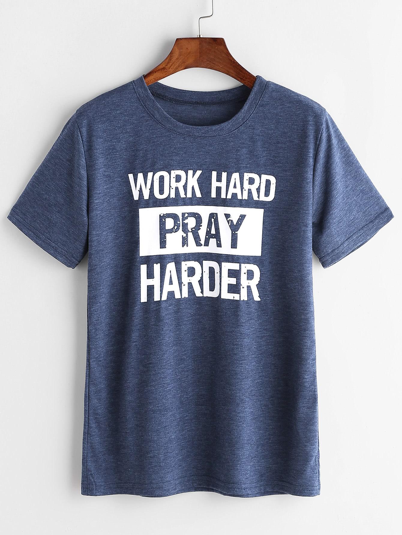 Фото Heather Blue Slogan Print T-shirt. Купить с доставкой