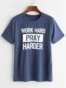 T-shirt imprimé Slogan Bleu Heather