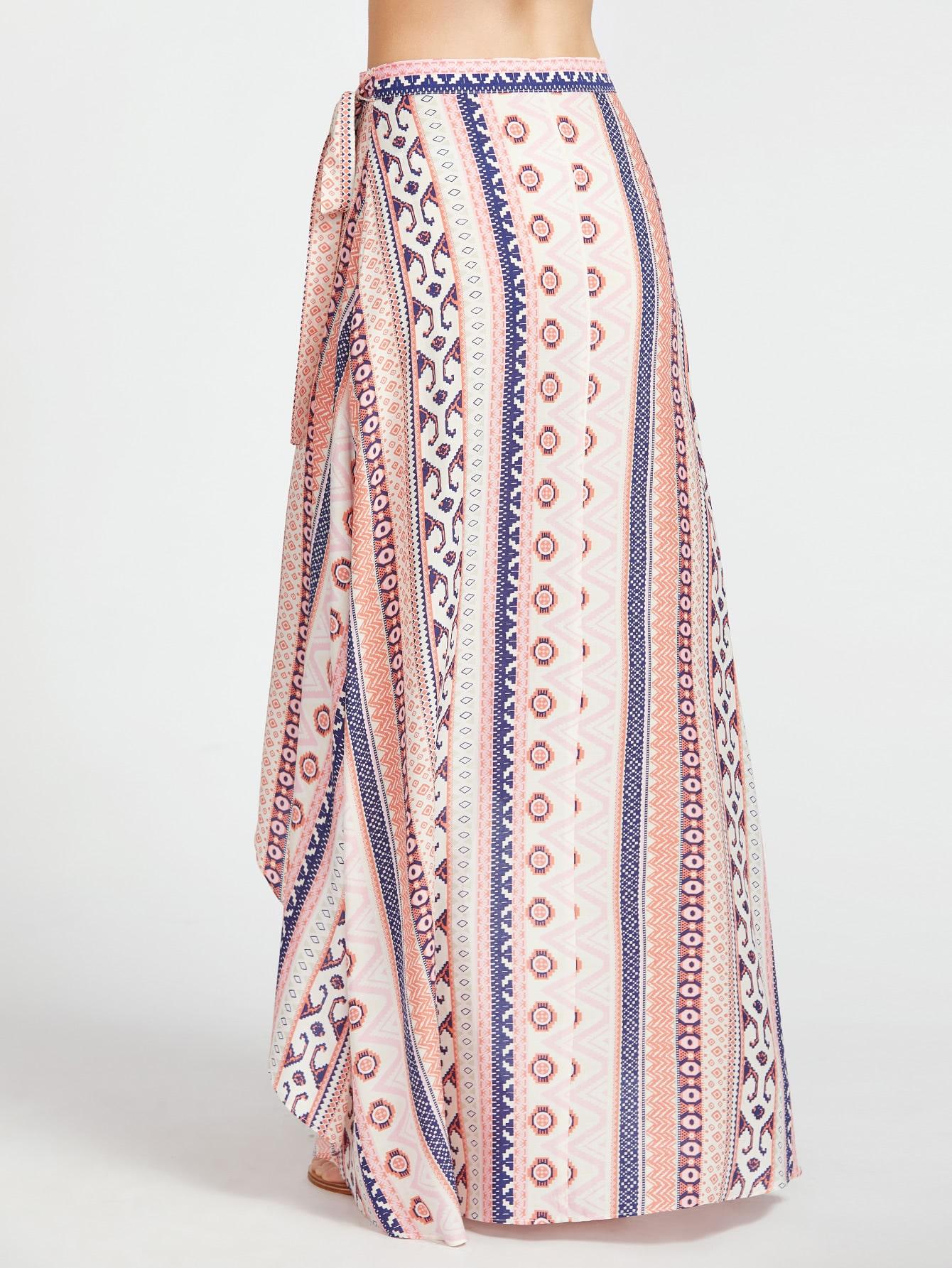 tribal print high low wrap skirt shein sheinside