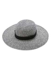 Grey Wide Brim Straw Hat