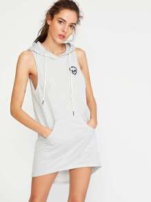 Heather Grey Hooded Alien Embroidered Dip Hem Dress