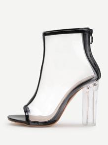 Zapatos de tacón grueso transparente con ribete en contraste