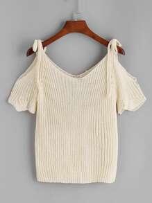 Beige Cold Shoulder Scallop Knit T-shirt