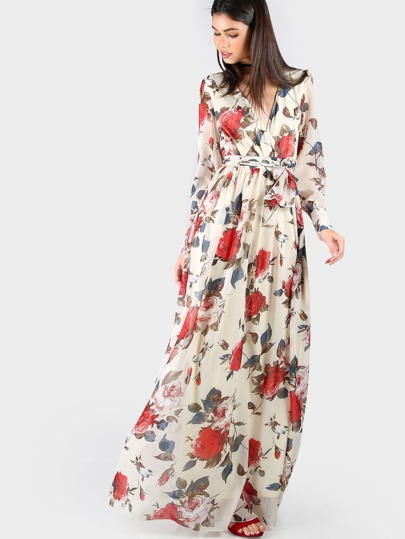 Vestido cruzado con estampado de flor de mangas largas con cinturón - multicolor