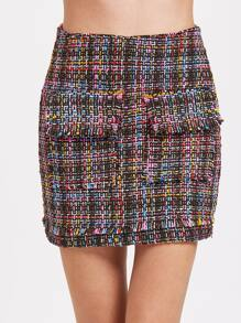Weave Bodycon Skirt With Zipper Back