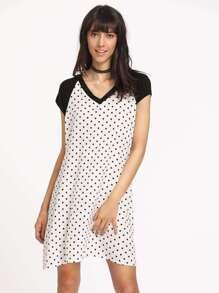 Polka Dpt Print Contrast Raglan Sleeve Tee Dress