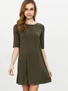 Army Green mezza manica Dress Casual