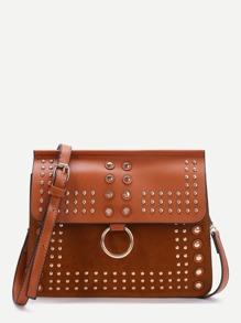 Brown Studded Ring Detail Flap Shoulder Bag