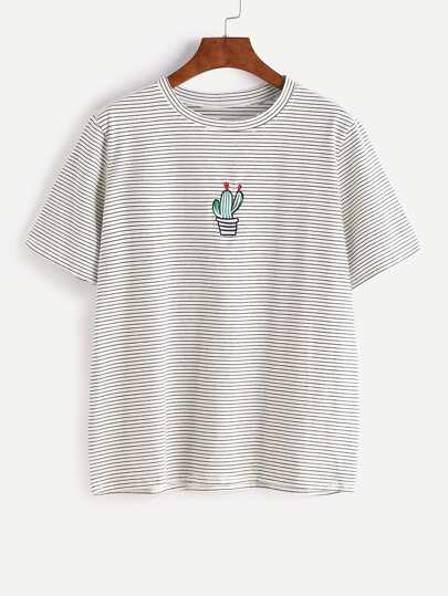 Pinstripes Potted Embroidered T-shirt