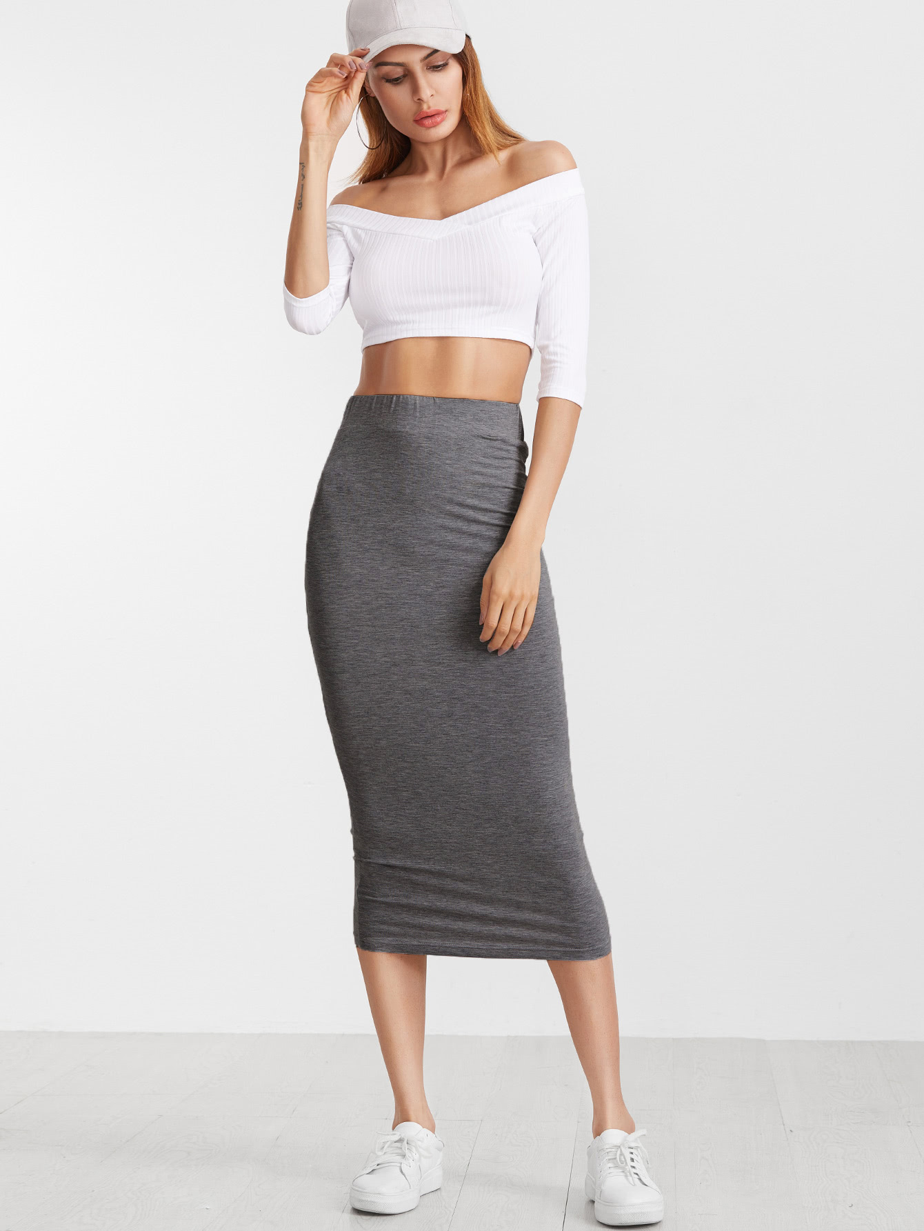grey elastic waist jersey pencil skirt shein