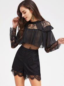 Bertha Collar Sheer Lace Insert Ruffle Trim Romper