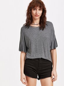 Dark Grey Marled Knit Ruffle Cuff T-shirt