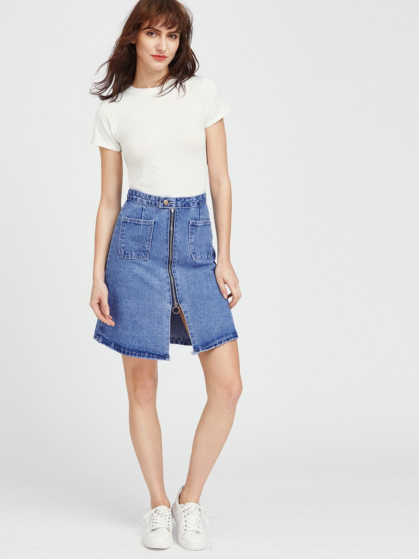 blue zipper front denim skirt sheinsheinside