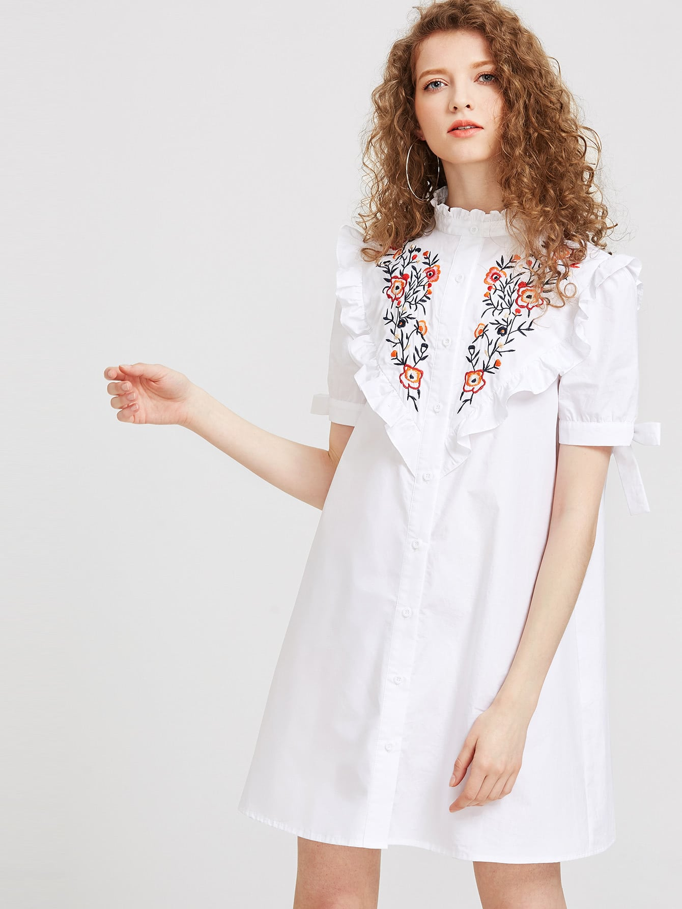 Фото Embroidered Yoke Frilled Tie Sleeve Shirt Dress. Купить с доставкой