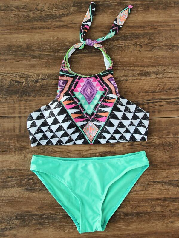 Geometric Pattern Halter Top Mix & Match Bikini Set, null