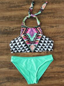 Set bikini halter con estampado geométrico mix & match