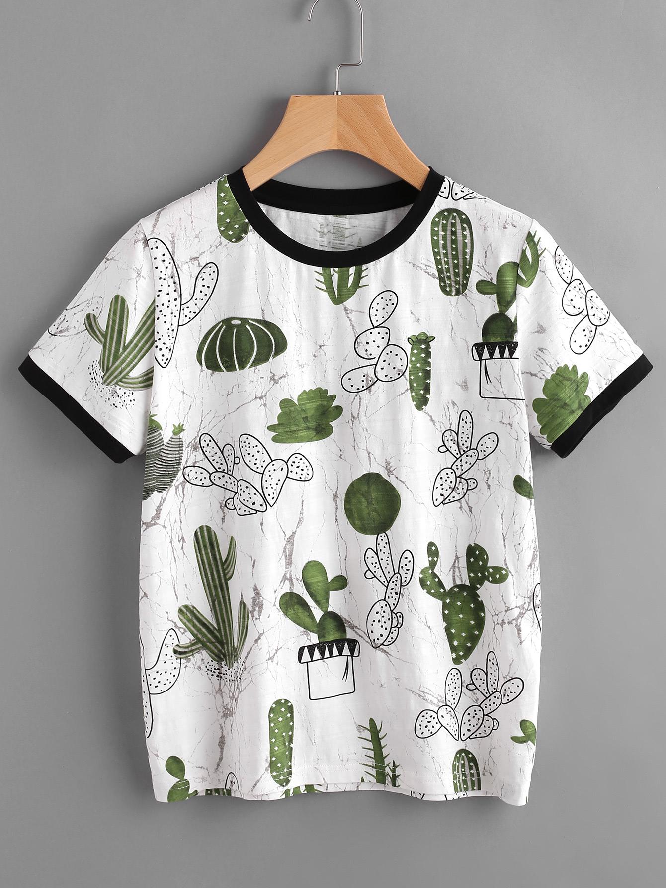 Imprimer cactus t shirt et le marbre french shein sheinside - Imprimer photo sur tee shirt ...