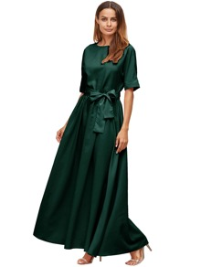 Dark Green Tie Front Detail Maxi Dress