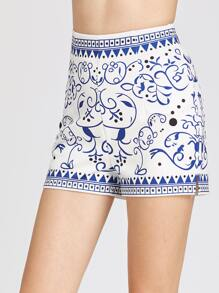 Porcelain Print Zip Back Shorts