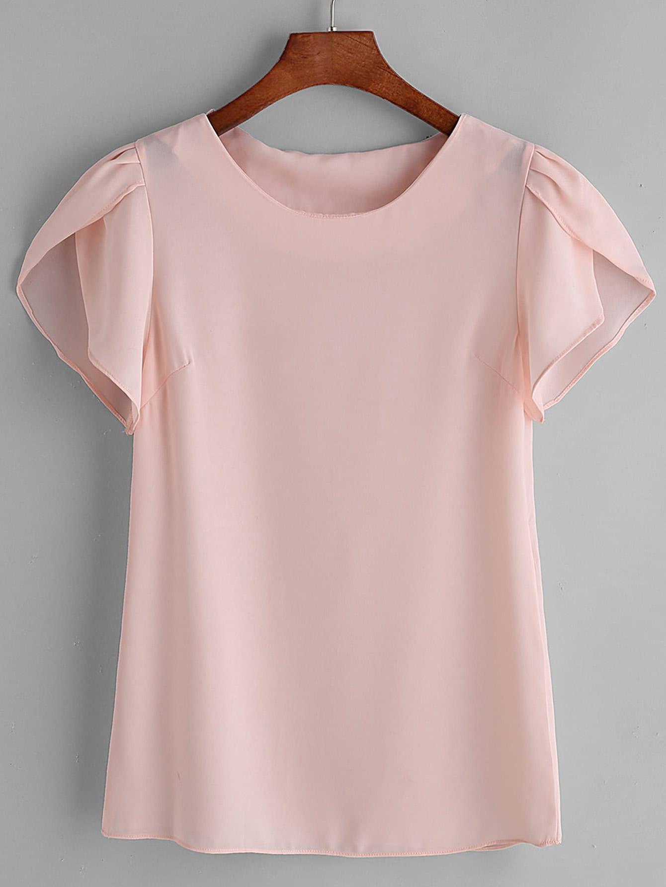 Купить Розовая плиссированная блузка с воротником из шифона, null, SheIn