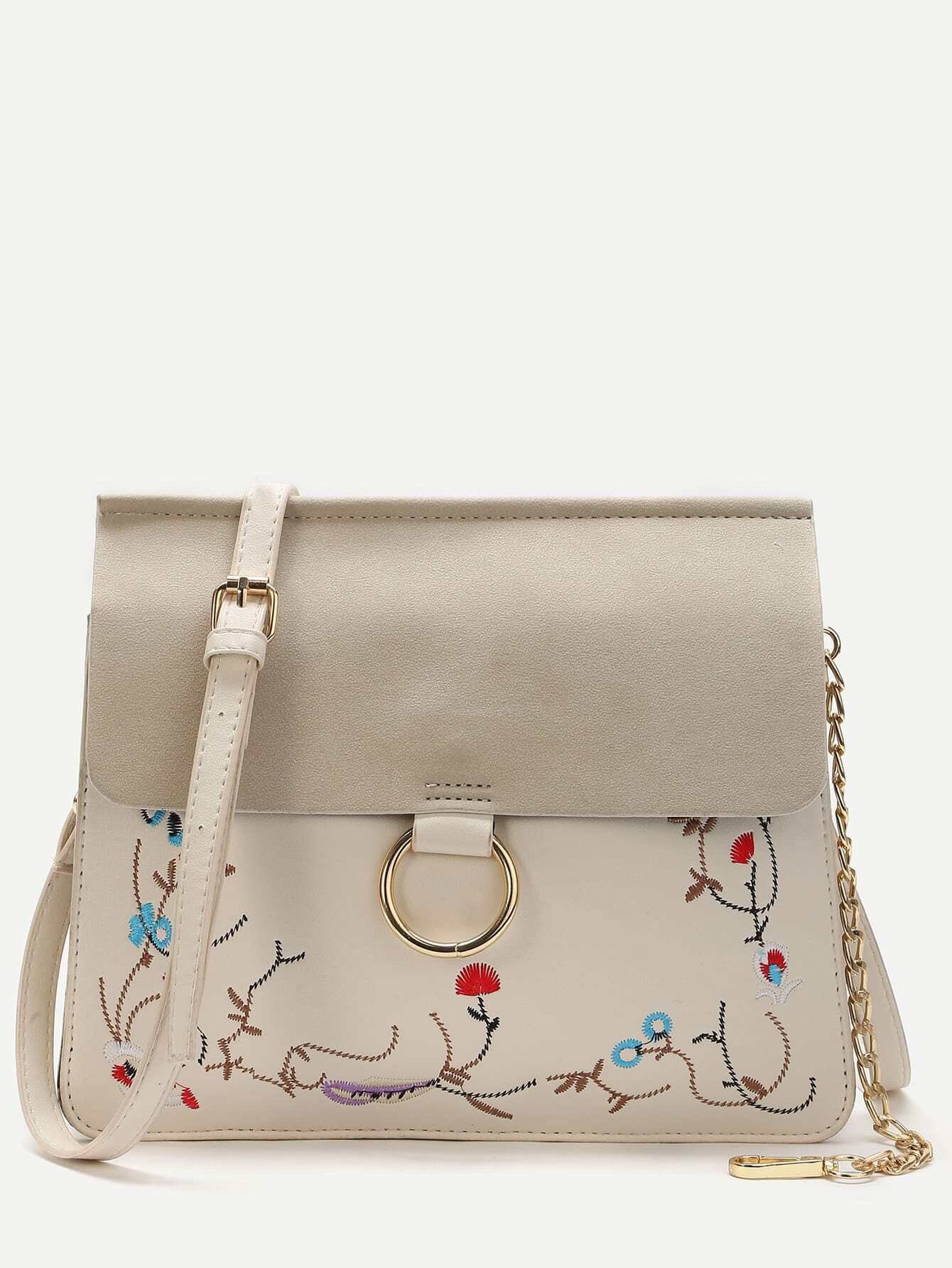 Фото White Embroidery Flap Shoulder Bag With Chain Detail. Купить с доставкой