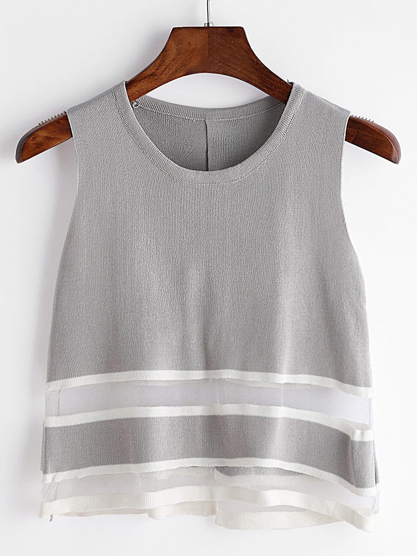 Фото Sheer Mesh Insert Slit Back Knit Tank Top. Купить с доставкой