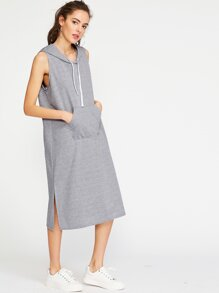Heather Grey Hooded Slit Side Dress
