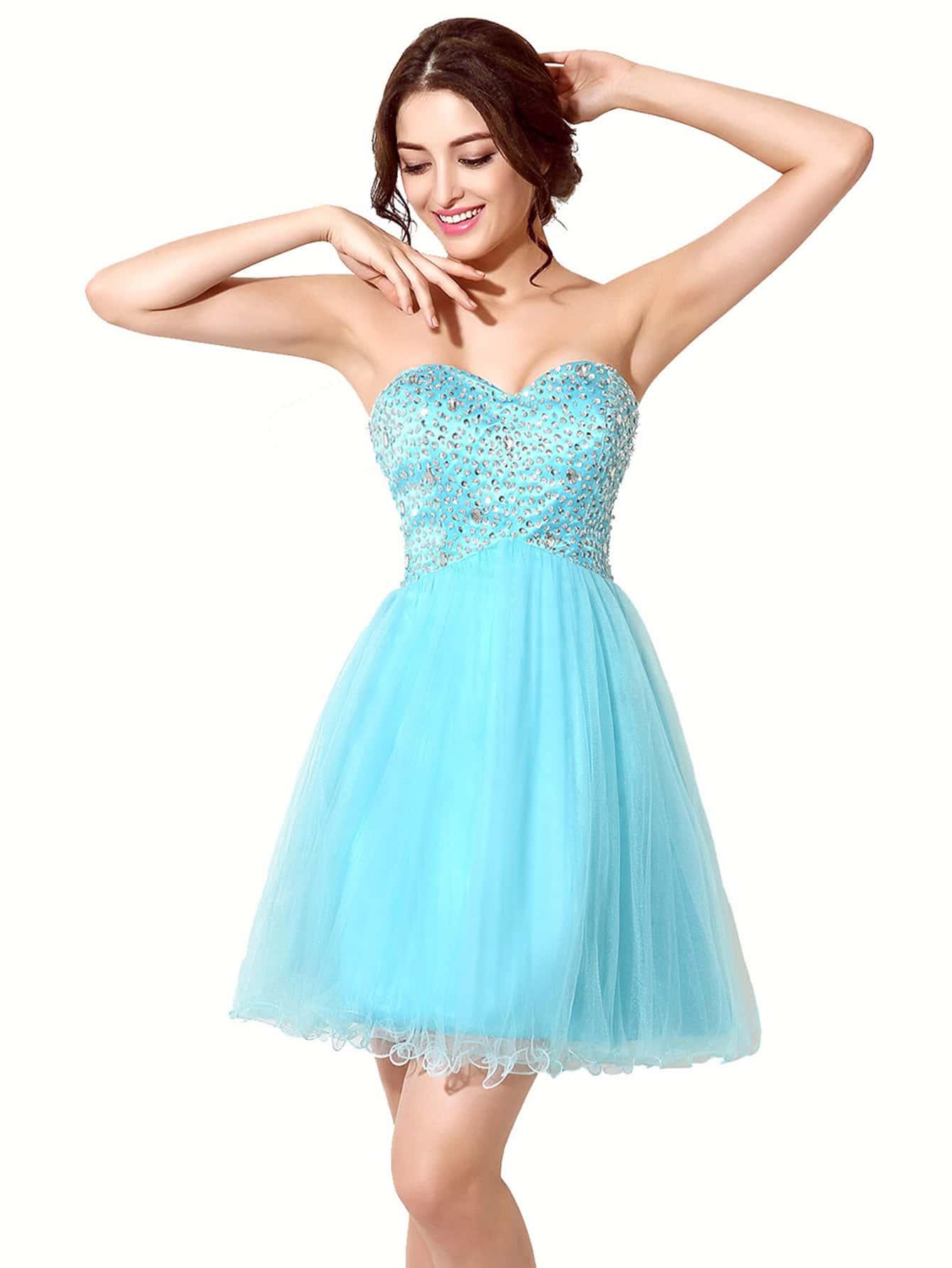 Фото Sky Blue Rhinestone Embellished Sweetheart Bridesmaid Dress. Купить с доставкой