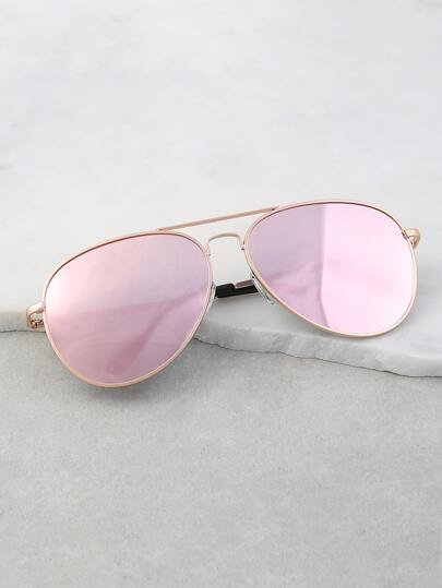 Reflective Aviator Sunnies ROSE GOLD