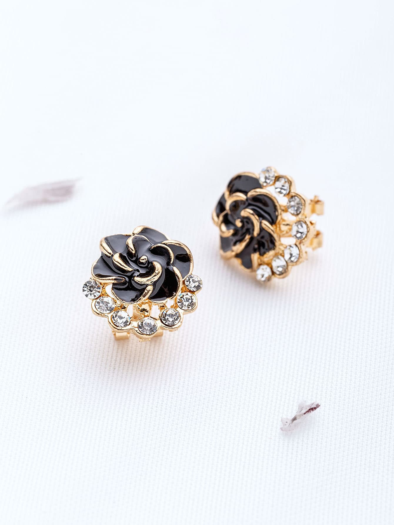 Black Flower Shaped Stud Earrings square shaped stylish crystal zinc alloy stud earrings black bronze pair