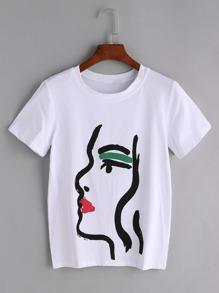 Weißes Graffiti-Druck-T-Shirt