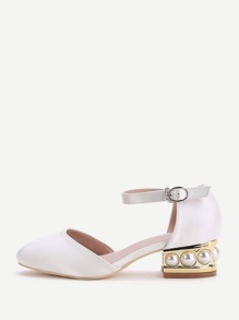 White Point Toe Ankle Strap Satin Chunky Heeled Shoes