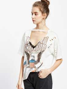 Graphic Print Cutout V-Neck Distressed Tee