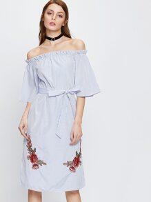Vertical Striped Applique Dress With Belt