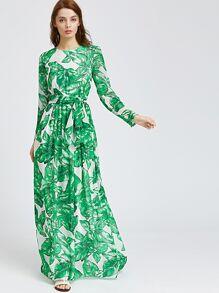 Vestido Maxi estampado de hoja de palmera
