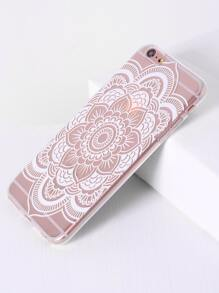 Lotus Flower Print Clear iPhone 6 Plus/6s Plus Case