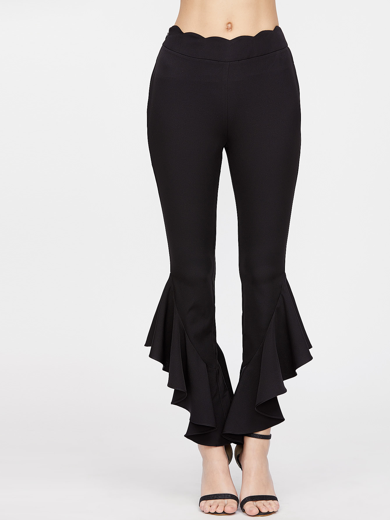 Scallop Waist Ruffle Hem Crop Pants