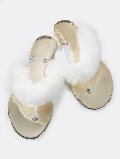 Metallic Fur Thong Flats WHITE
