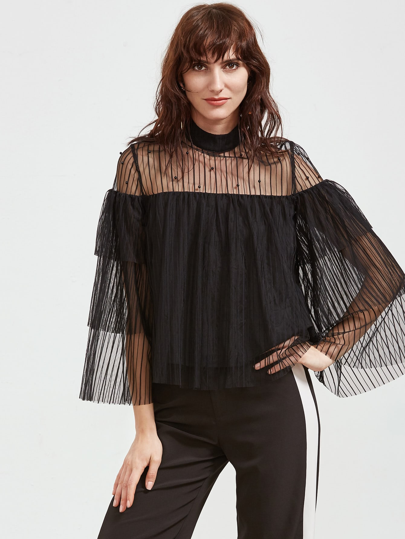 Фото Black Beaded Sheer Shoulder Layered Mesh Top. Купить с доставкой