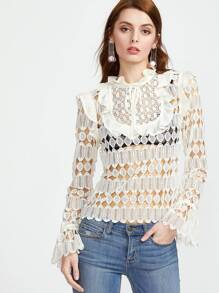Ruffle Detail Trumpet Sleeve Hollow Out Embroidered Lace Top