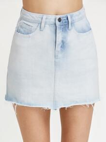 Bleach Wash Raw Hem Mini Denim Skirt