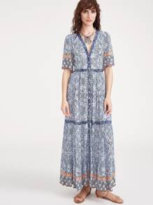 Plunge Ornate Print Button Up Dress