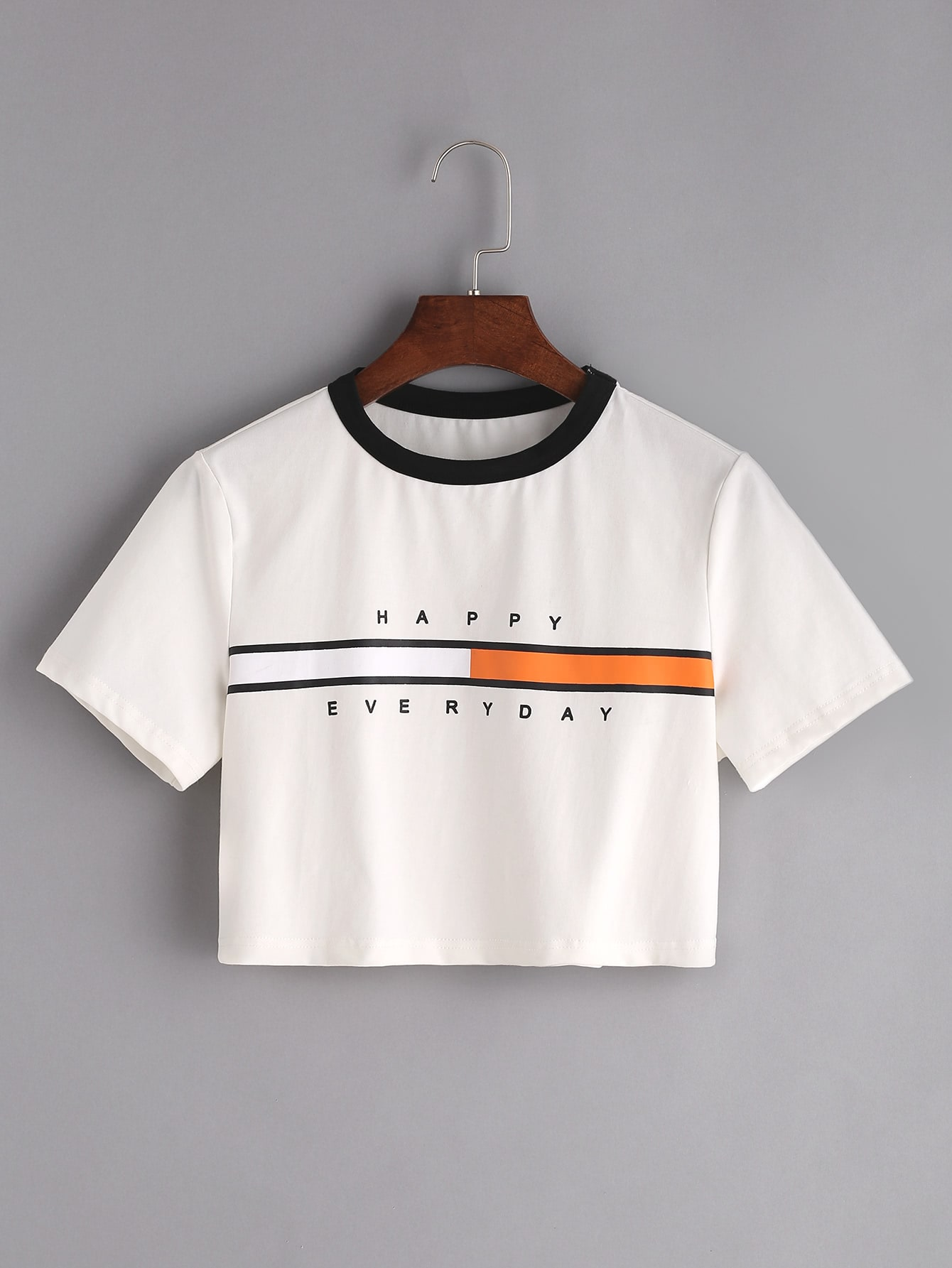 Фото Contrast Neck Graphic Print Crop T-shirt. Купить с доставкой