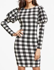 Black And White Checkered Puff Sleeve Bodycon Dress